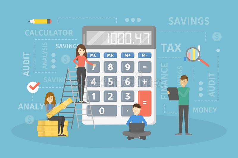 Calculating the income. stock illustration