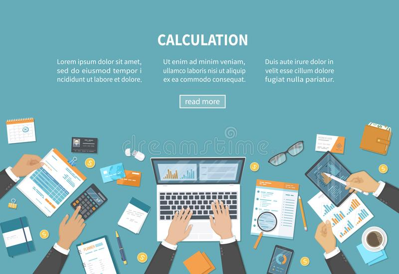 Calculation concept. Tax accounting. Financial analysis analytics, planning statistics research. Businessmen hands on the desk. stock illustration