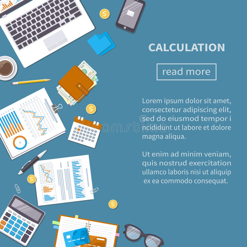 Calculation concept. Tax accounting. Financial analysis,. Calculation concept. Tax accounting. Financial analysis. Top view vector illustration