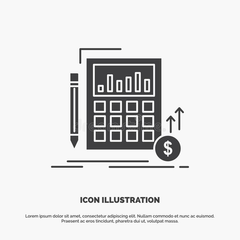 Calculation, data, financial, investment, market Icon. glyph vector gray symbol for UI and UX, website or mobile application vector illustration