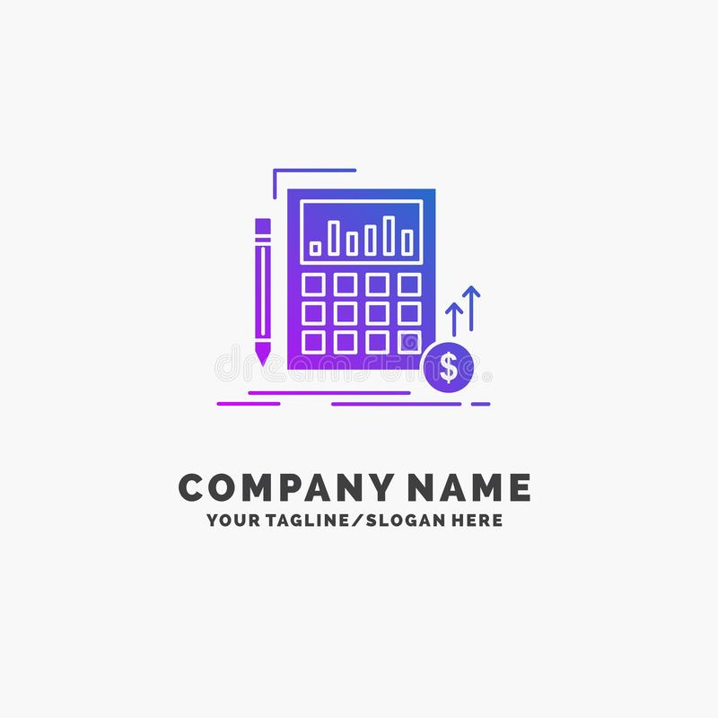 Calculation, data, financial, investment, market Purple Business Logo Template. Place for Tagline stock illustration