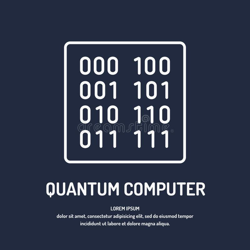Calculation quantum computer. Analysis and data transfer. stock illustration