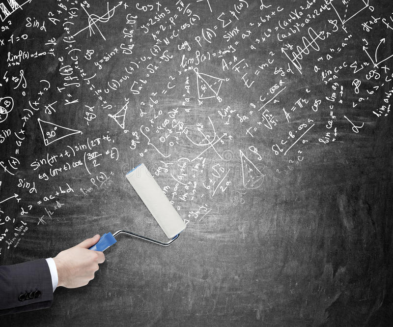 Calculations on the blackboard stock images