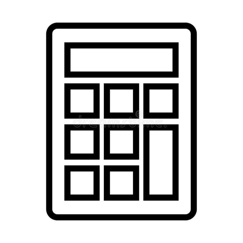 Calculator line icon. Simple calculator thin black line icon - editable vector illustration on isolated white background royalty free illustration