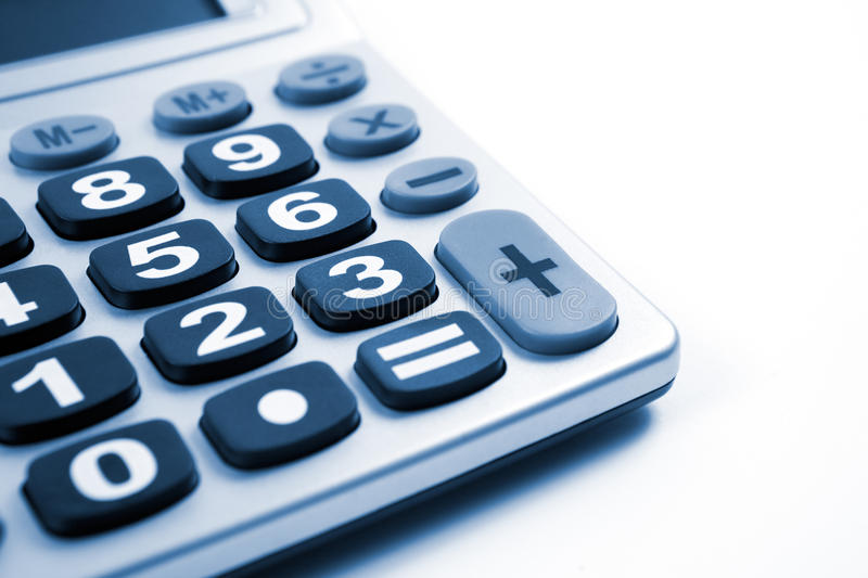 Calculator. Close up image of Calculator isolated in white stock images