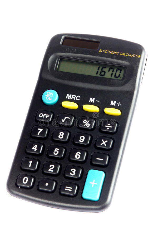 Calculator. An electronic solar cell mathematical arithmetic school, work and home calculator stock images