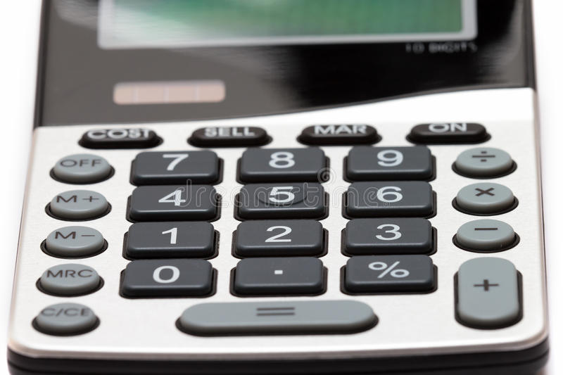 Calculator. Shot of modern calculator isolated on white background royalty free stock photo