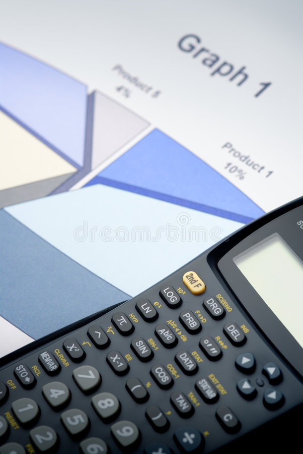 The Calculator. On 3D graph stock images