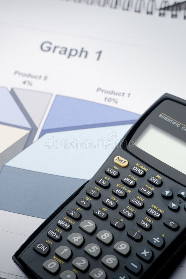 The Calculator. On 3D graph royalty free stock photos