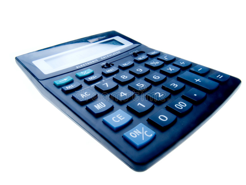 Calculator. Black business calculatir isolated on white royalty free stock photos