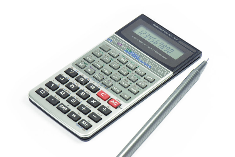 Calculator. And pen isolated on white, Business accessories royalty free stock images