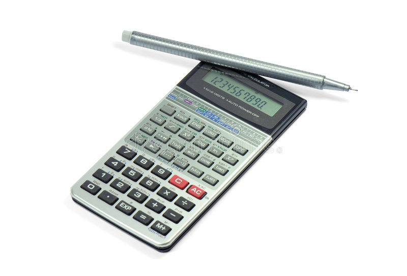 Calculator. And pen isolated on white, Business accessories stock image