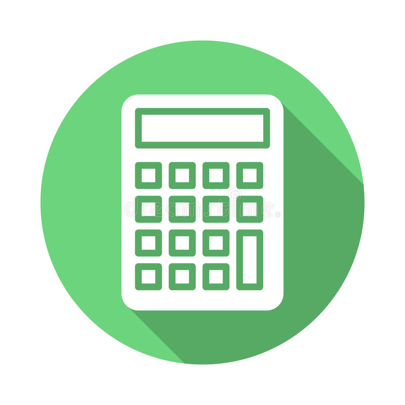 Calculator, Accounting flat icon. Round colorful button, circular vector sign with long shadow effect. Flat style design vector illustration