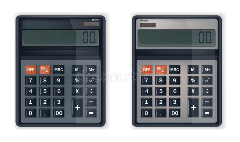 Calculator or adding machine Vector realistic isolated on whites stock illustration