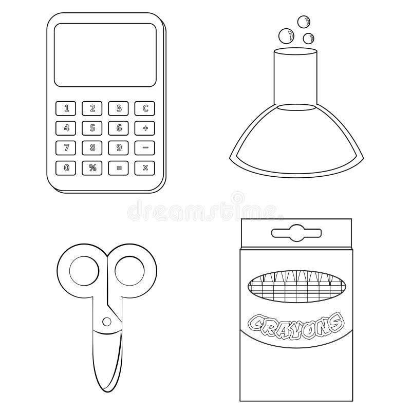 Calculator, beker, schaar en kleurpotloden die pagina kleuren royalty-vrije illustratie