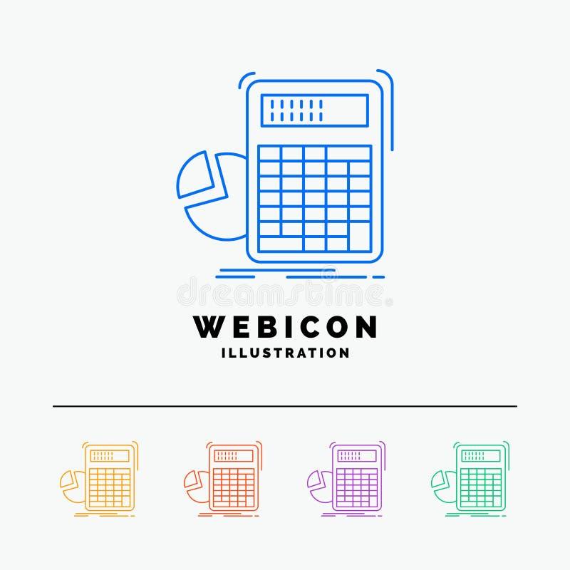 calculator, berekening, wiskunde, vooruitgang, grafiek 5 het Pictogrammalplaatje van het Rassenbarrièreweb op wit wordt geïsoleer royalty-vrije illustratie