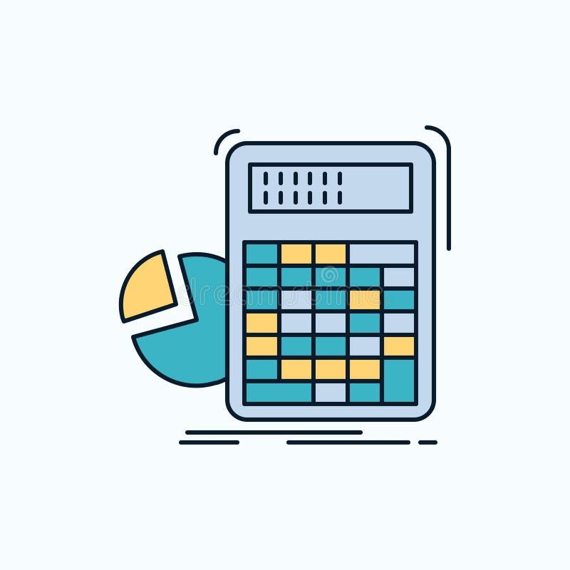calculator, berekening, wiskunde, vooruitgang, grafiek Vlak Pictogram groene en Gele teken en symbolen voor website en Mobiele ap stock illustratie