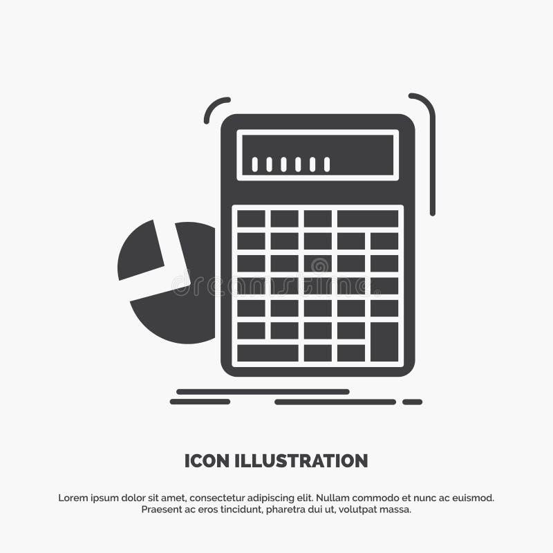 calculator, berekening, wiskunde, vooruitgang, grafiekpictogram glyph vector grijs symbool voor UI en UX, website of mobiele toep stock illustratie