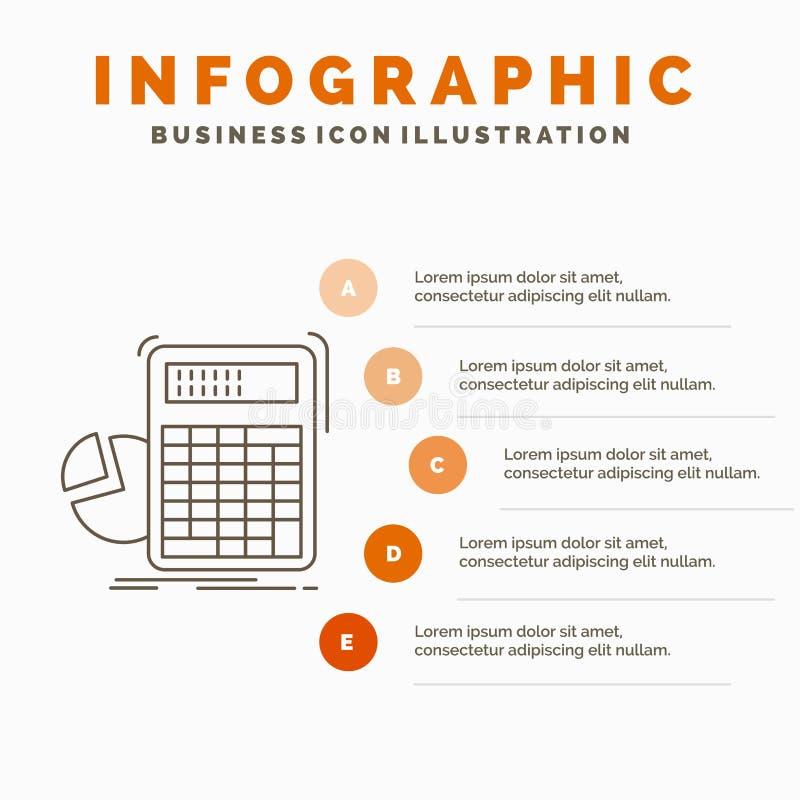 calculator, berekening, wiskunde, vooruitgang, het Malplaatje van grafiekinfographics voor Website en Presentatie Lijn Grijs pict royalty-vrije illustratie