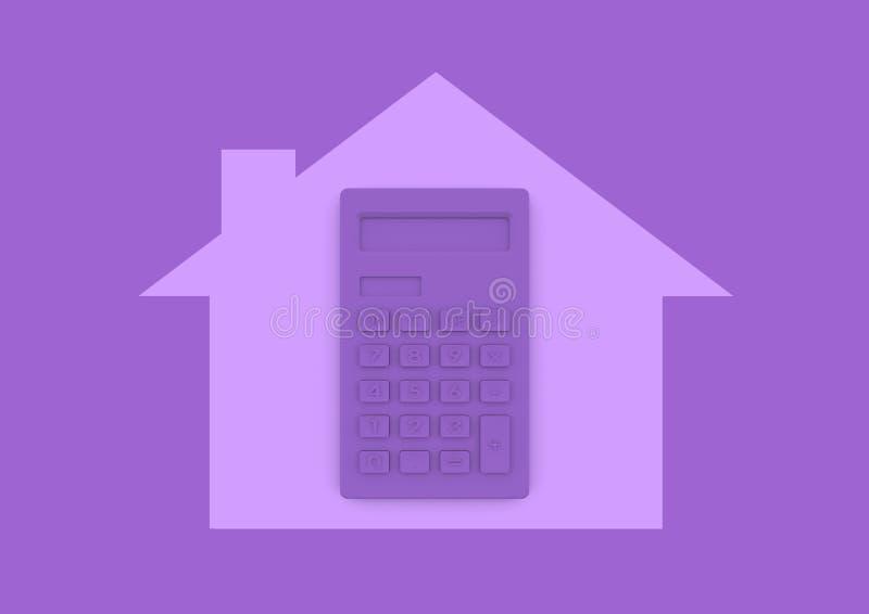 Calculator binnen huishuis het kopen en hypotheek minimalistische conc vector illustratie