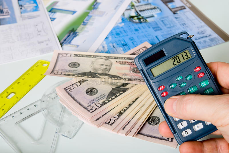 Download Calculator On A Blurred Background Of The Project And Dollars Stock Illustration - Image: 28755510