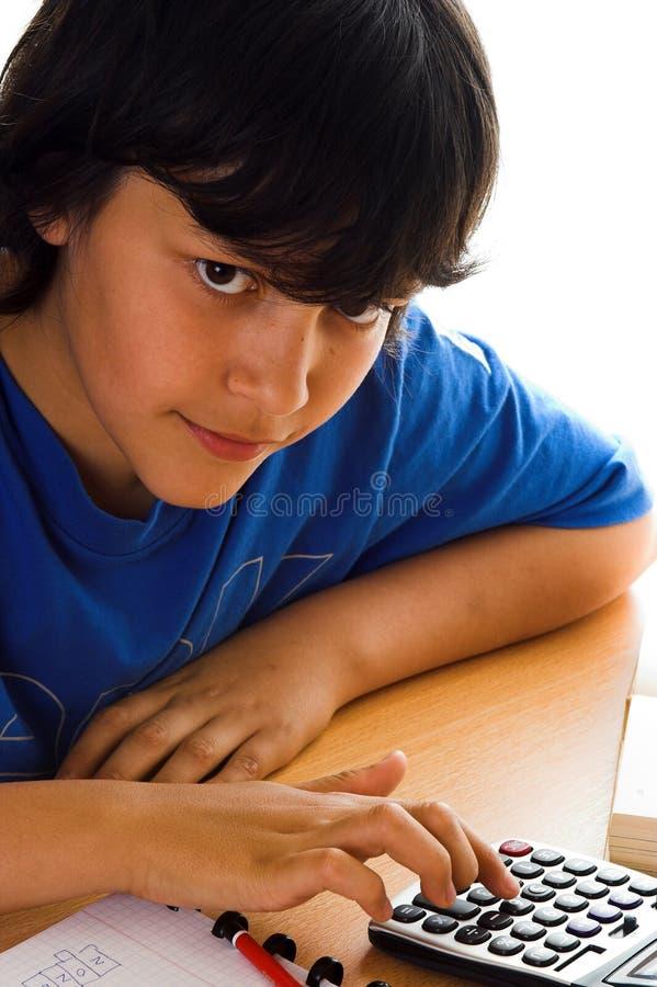 Download Calculator boy stock photo. Image of pencil, math, school - 1081786