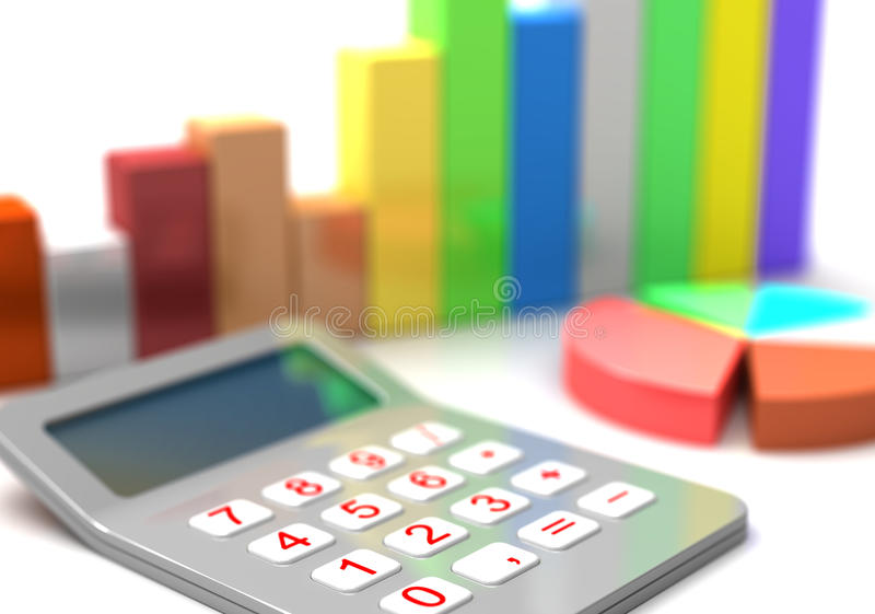 Calculator and chart. Calculator diagram and business chart 3d stock image