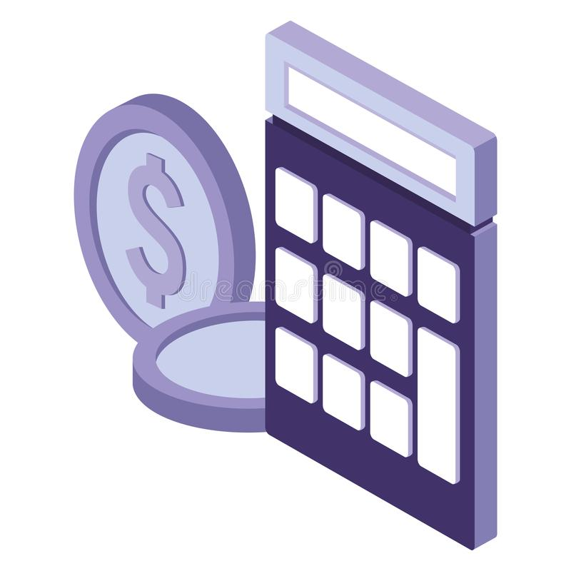Calculator and coins stock illustration