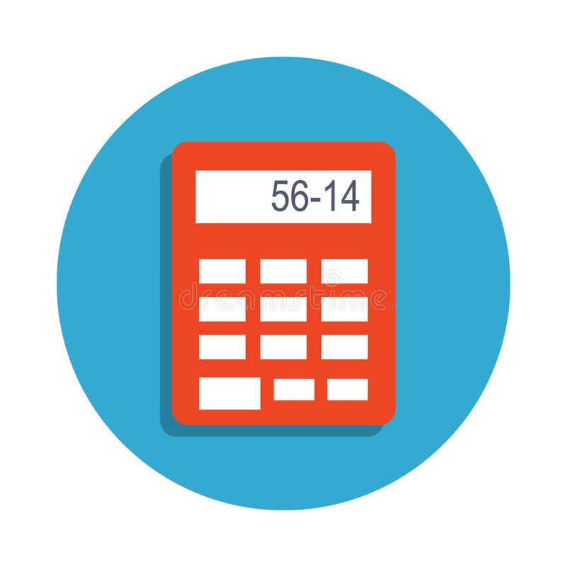calculator colored in blue badge icon. Element of school icon for mobile concept and web apps. Detailed calculator icon can be use royalty free illustration