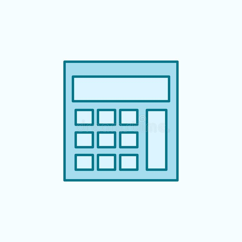Calculator 2 colored line icon. Simple colored element illustration. calculator outline symbol design from Scientifics study set. On blue background royalty free illustration