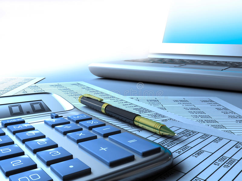 Calculator computer and report stock illustration