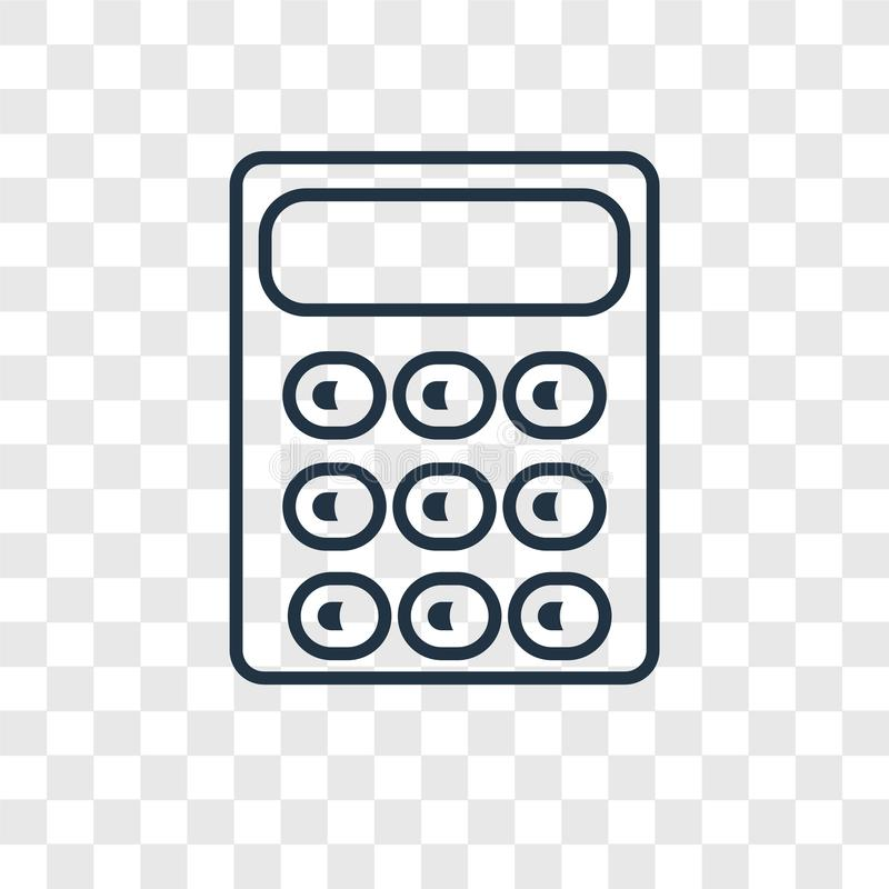Calculator concept vector linear icon on transparent ba. Ckground, Calculator concept transparency concept in outline style stock illustration