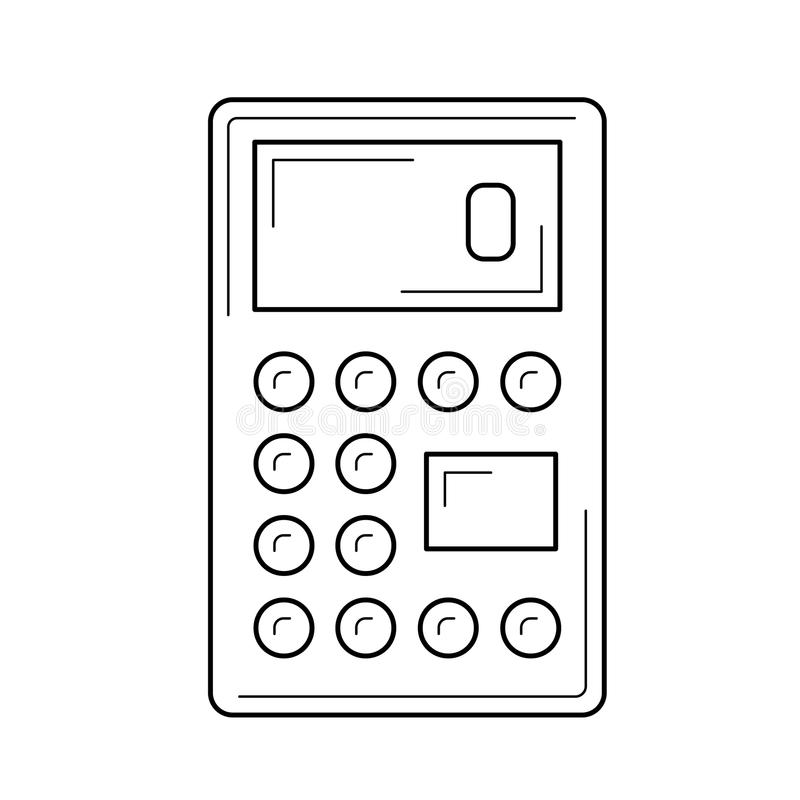 Calculator for count vector line icon. Calculator for count vector line icon isolated on white background. Math calculator line icon for infographic, website or royalty free illustration