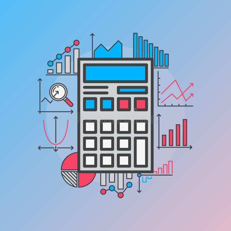 Calculator with diagrams vector illustration
