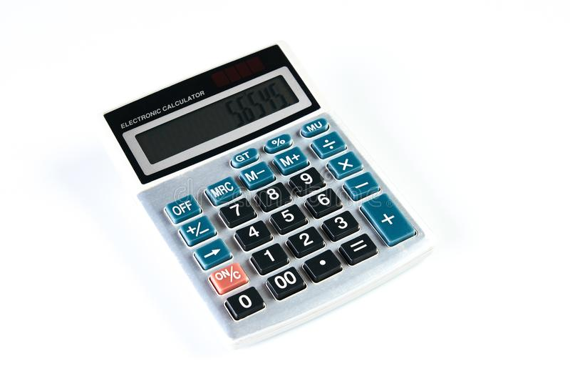 Calculator die op witte achtergrond wordt geïsoleerdm stock fotografie
