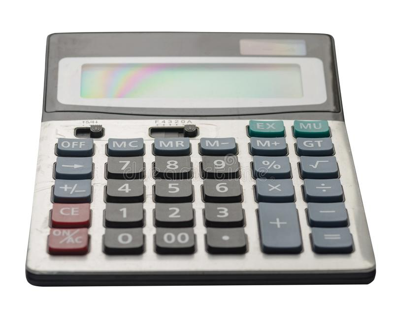Calculator die op witte achtergrond wordt ge?soleerdm stock afbeeldingen