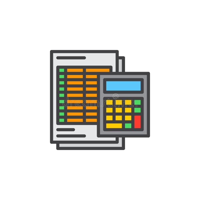 Calculator en bladlijnpictogram, gevuld overzichts vectorteken, lineair kleurrijk pictogram dat op wit wordt geïsoleerd stock illustratie