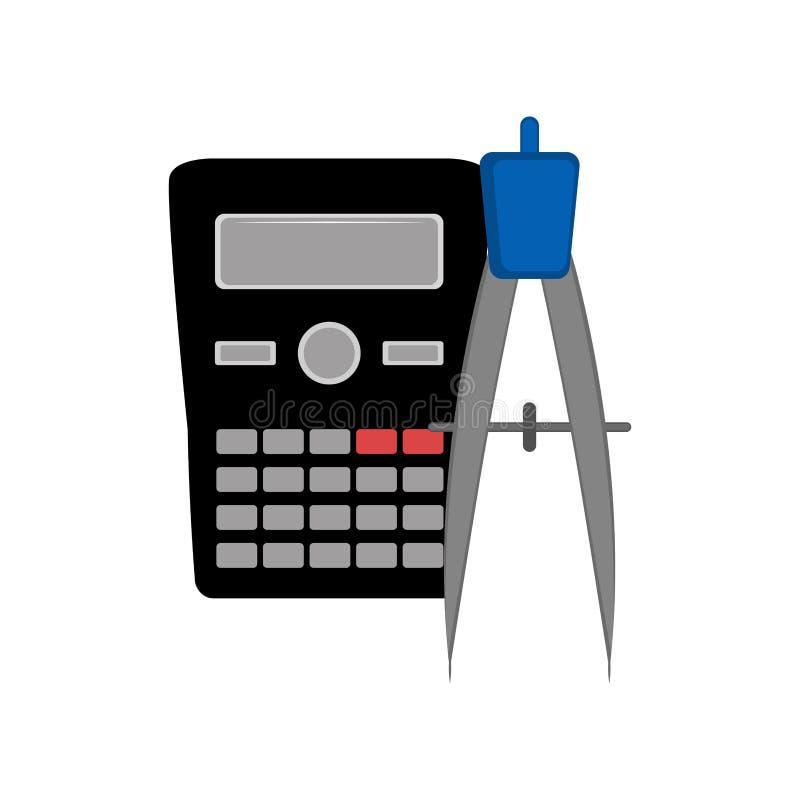 Calculator en een kompaspictogram royalty-vrije illustratie
