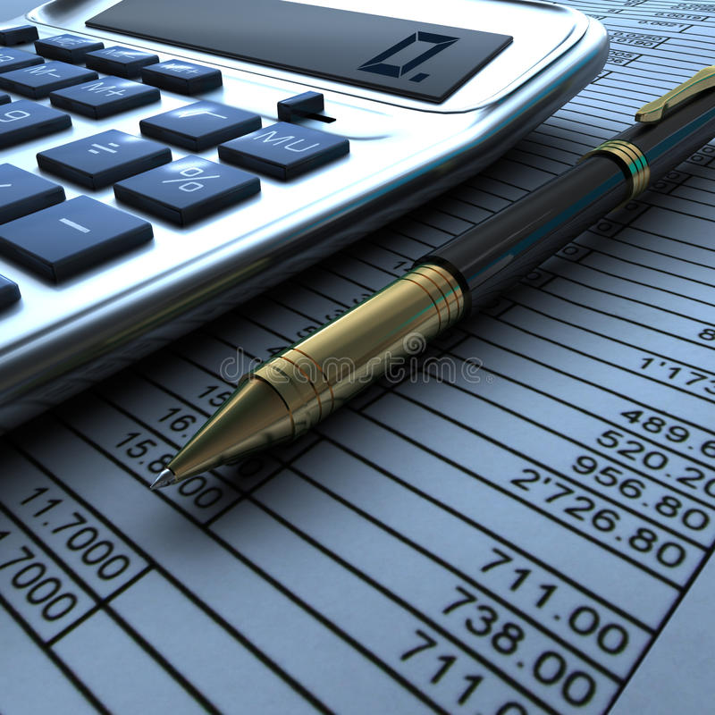 Calculator, en pen met financieel document royalty-vrije stock afbeelding