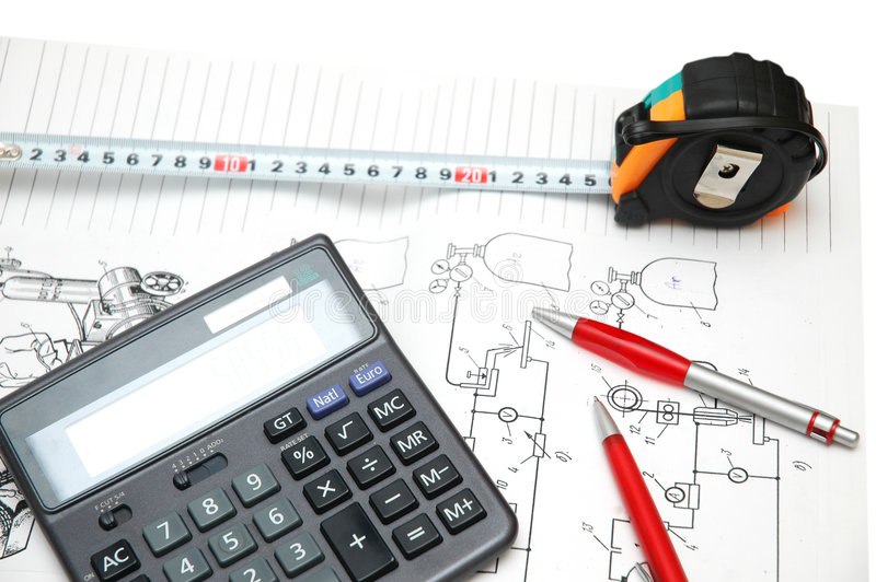 Calculator en potloden royalty-vrije stock fotografie