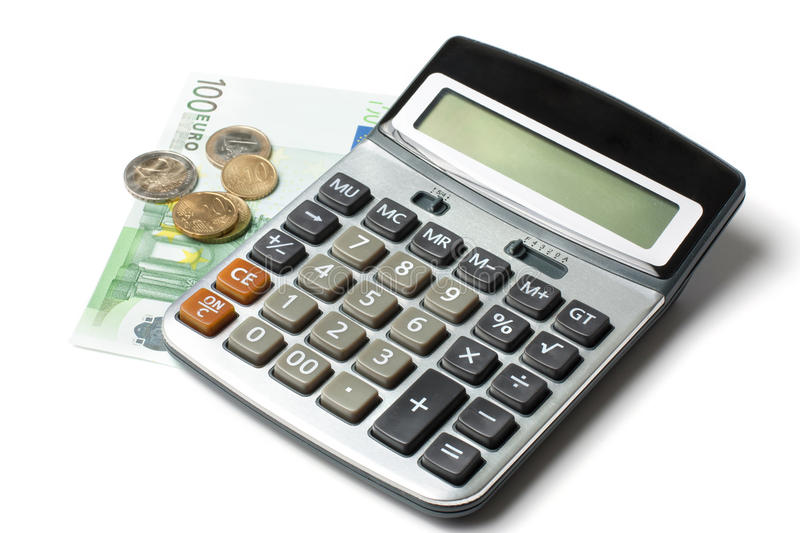 Calculator and euro. Calculator, coins and a hundred euro bill stock images