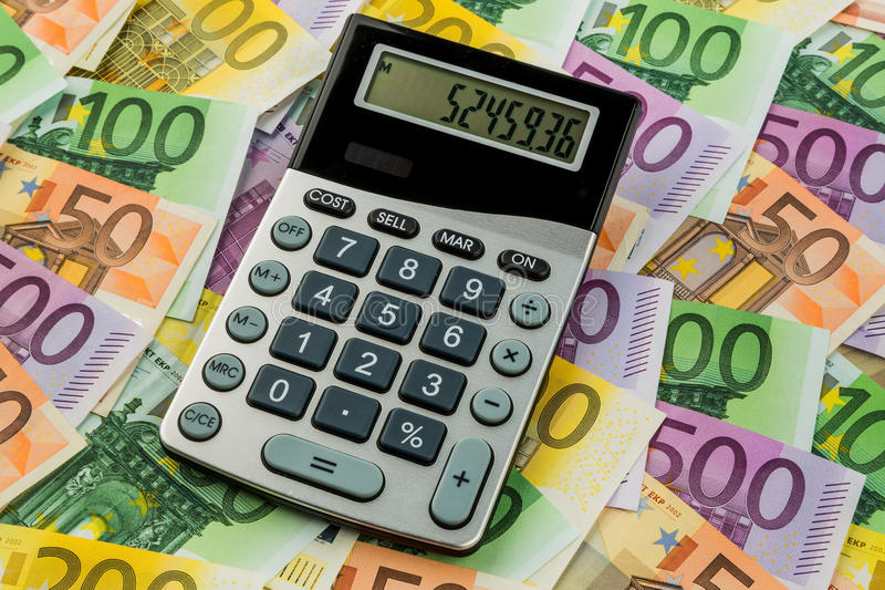 Calculator and euro banknotes stock photos