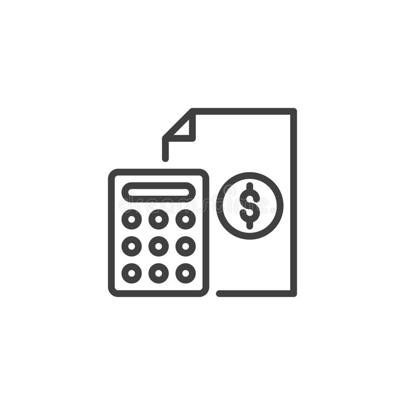 Calculator and financial document outline icon. Linear style sign for mobile concept and web design. Banking, accounting simple line vector icon. Symbol, logo vector illustration