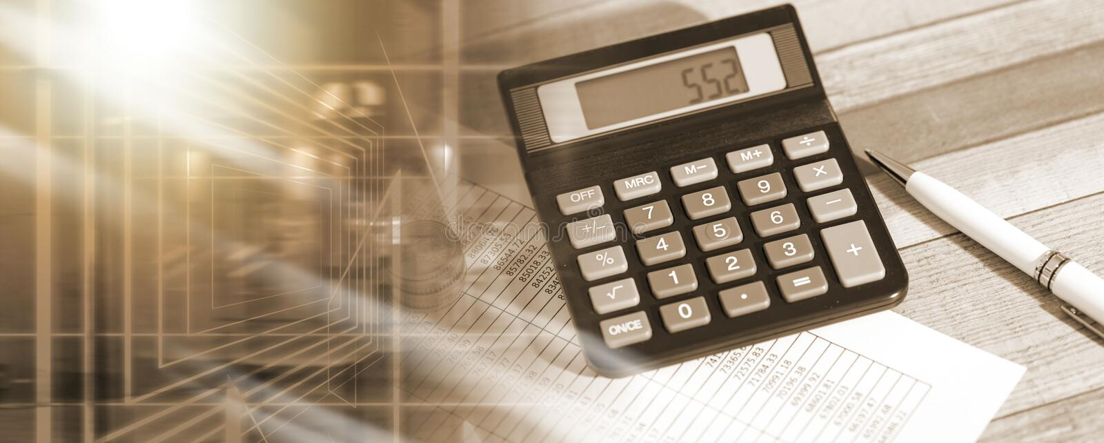 Calculator on financial documents, accounting concept; multiple exposure royalty free stock images