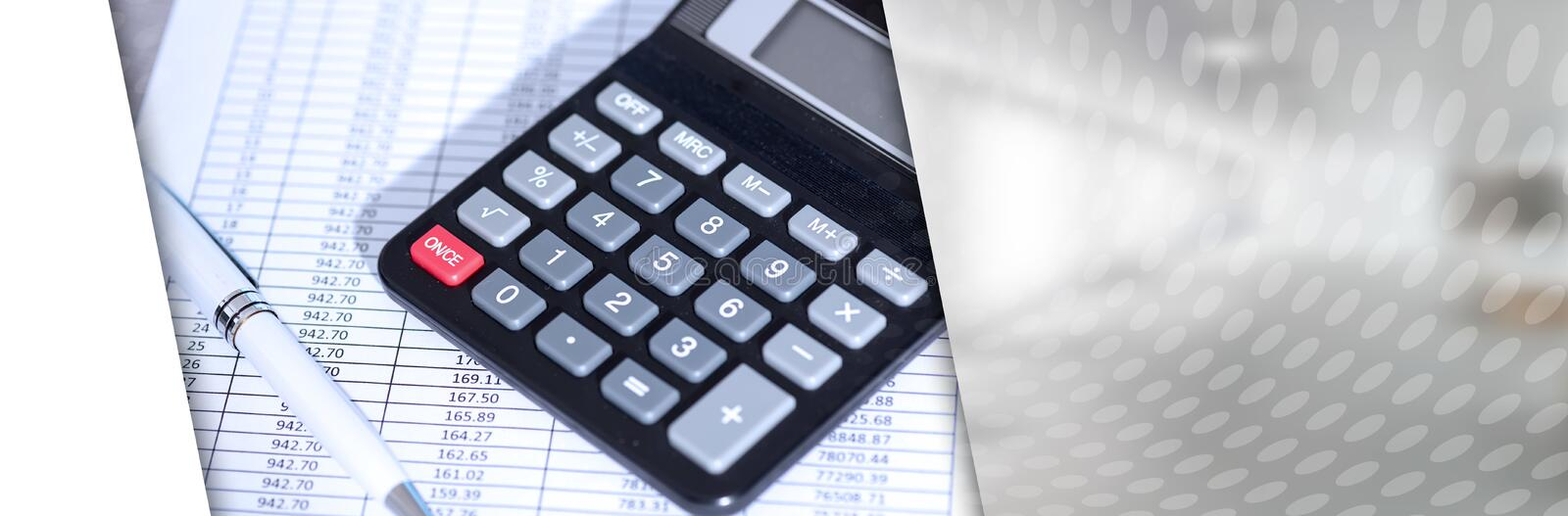 Calculator on financial documents, accounting concept; panoramic banner. Calculator on financial documents, accounting concept, closeup; panoramic banner stock photo