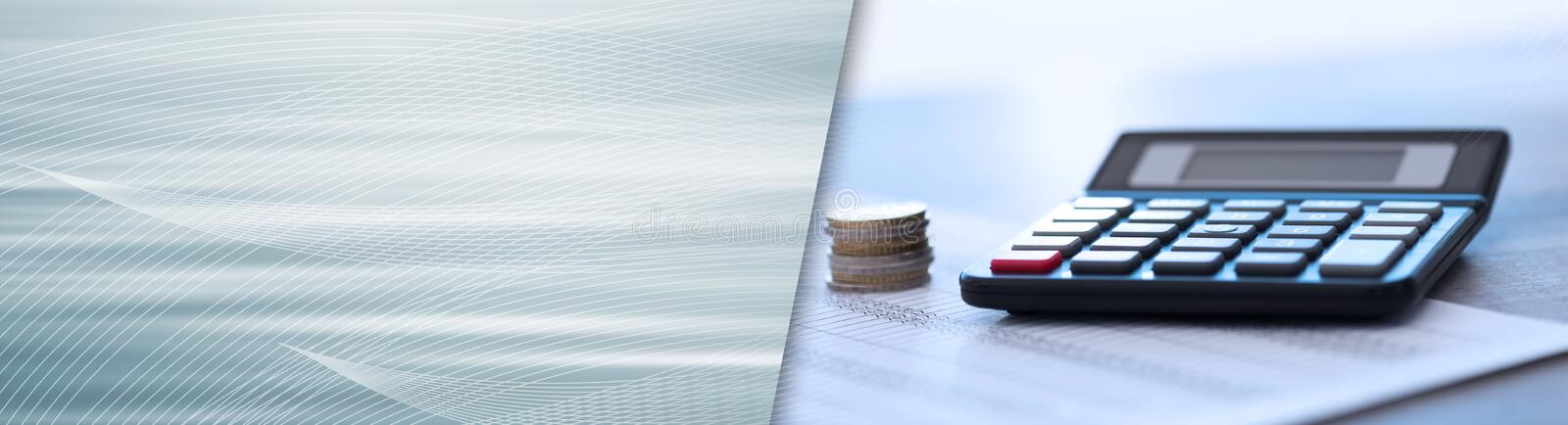Calculator on financial documents, accounting concept. panoramic banner royalty free stock photos