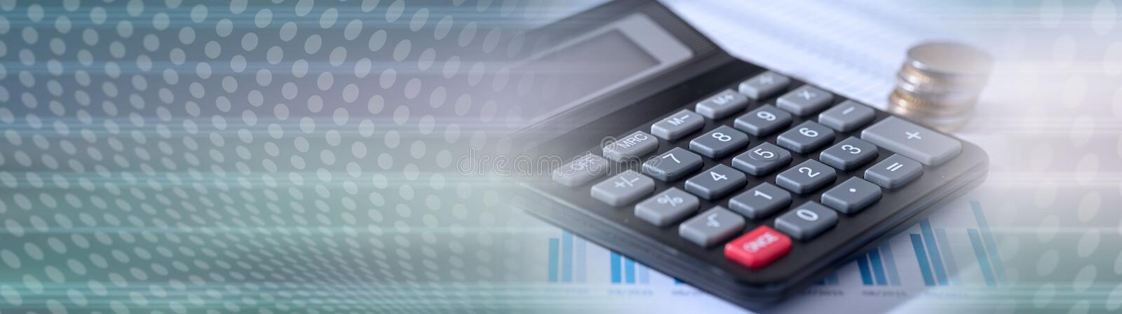 Calculator on financial documents, accounting concept. panoramic banner stock photo