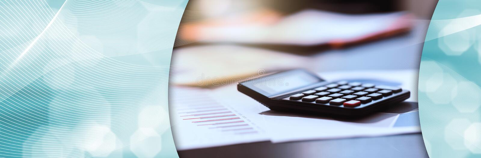 Calculator and financial documents; panoramic banner royalty free stock photography