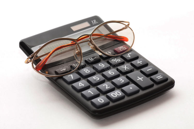 Download Calculator with glasses stock image. Image of market - 26555515