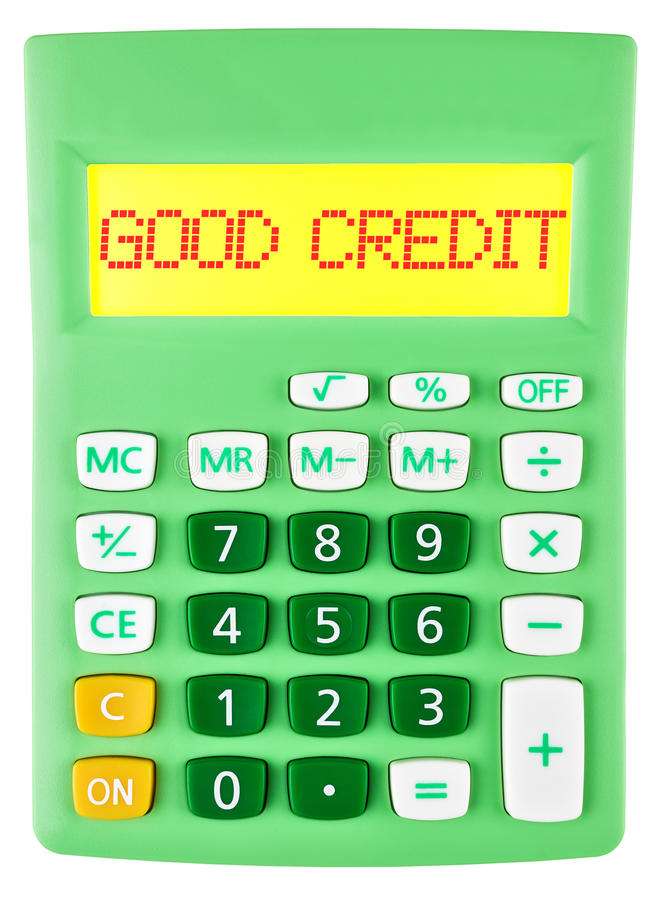 Calculator with GOOD CREDIT on display isolated. On white background royalty free stock photo